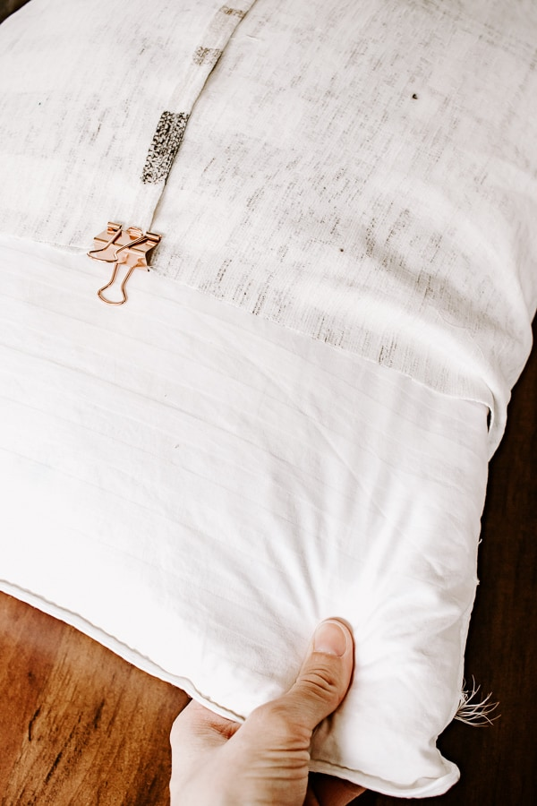 carefully slide pillow out