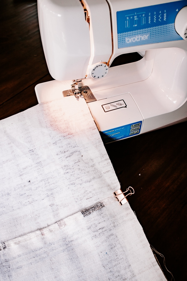 sew seams on either side of pillow