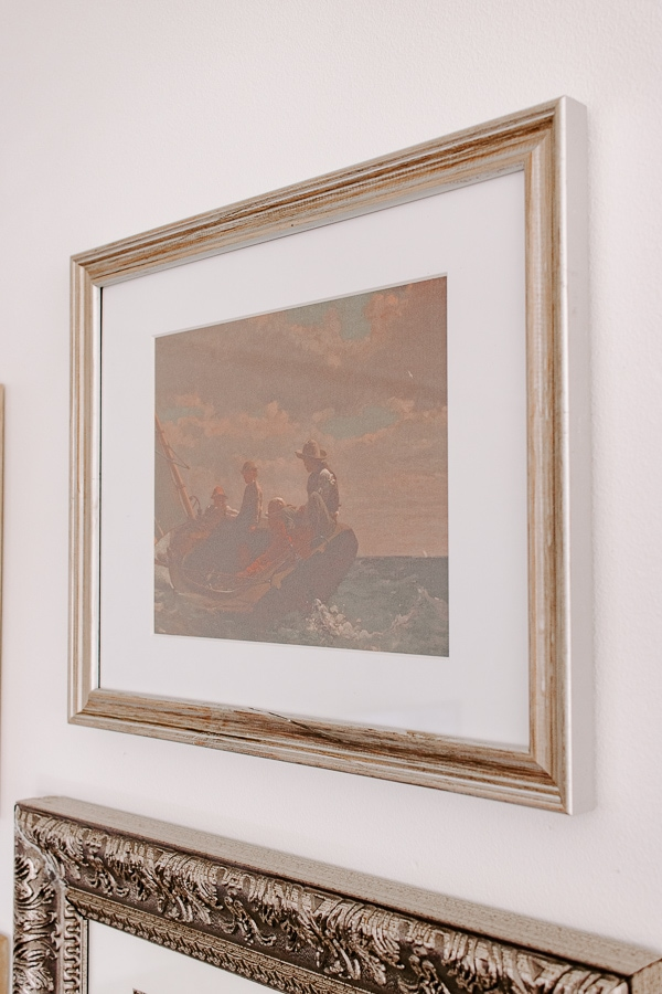 vintage boat print in silver frame