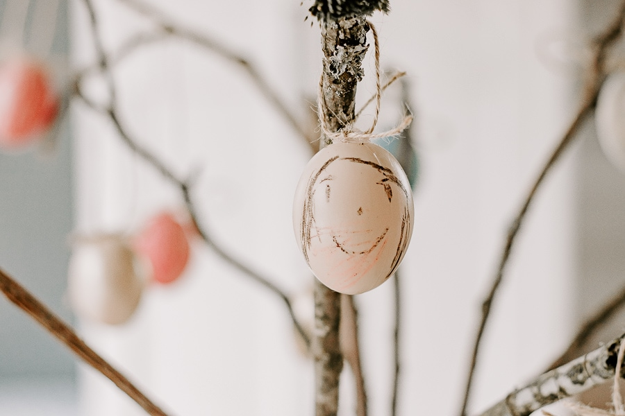 Plastic Egg hanging from Easter Tree