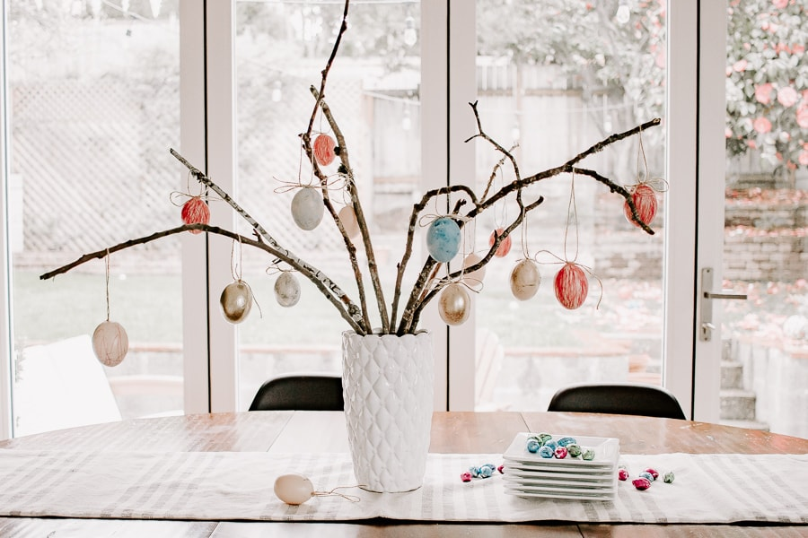 Easter Egg Tree using branches from your backyard