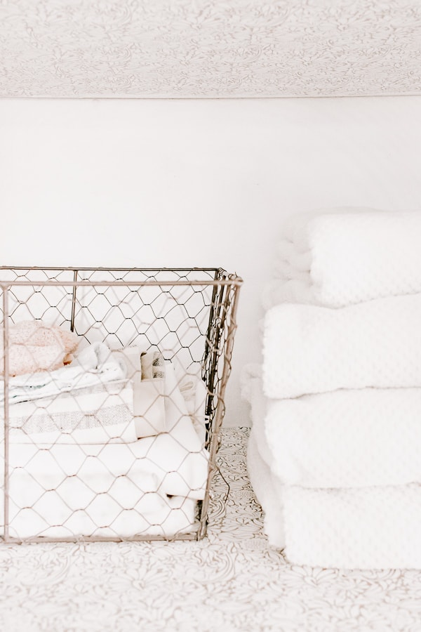 These wire baskets work great for your linen closets!