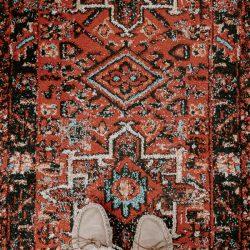 red persian hallway rug