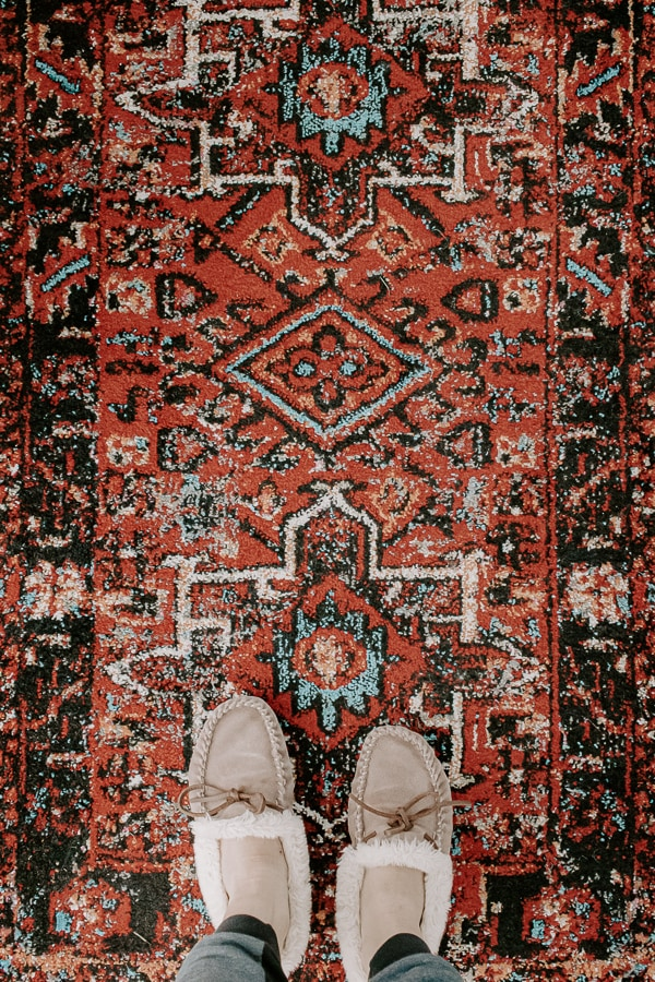 red persian hallway rug