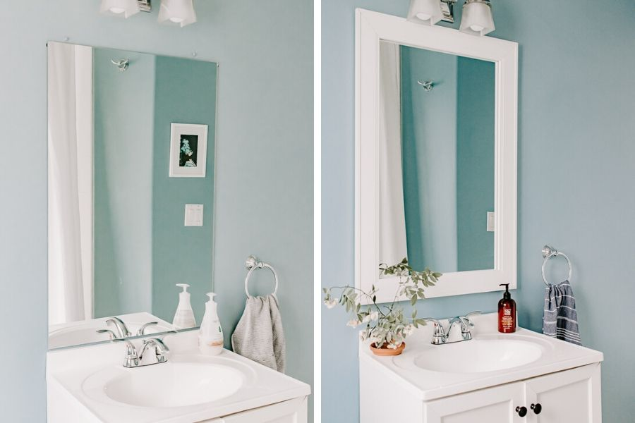 How to Frame a Bathroom Mirror Quickly and Easily - How to frame a bathroom mirror tutorial.  Transform the look of your bathroom with a simple DIY Frame Kit from Frame My Mirror™.
