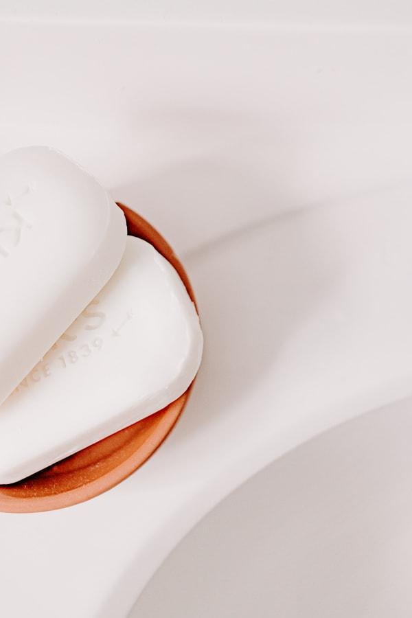 pretty soaps in a soap dish