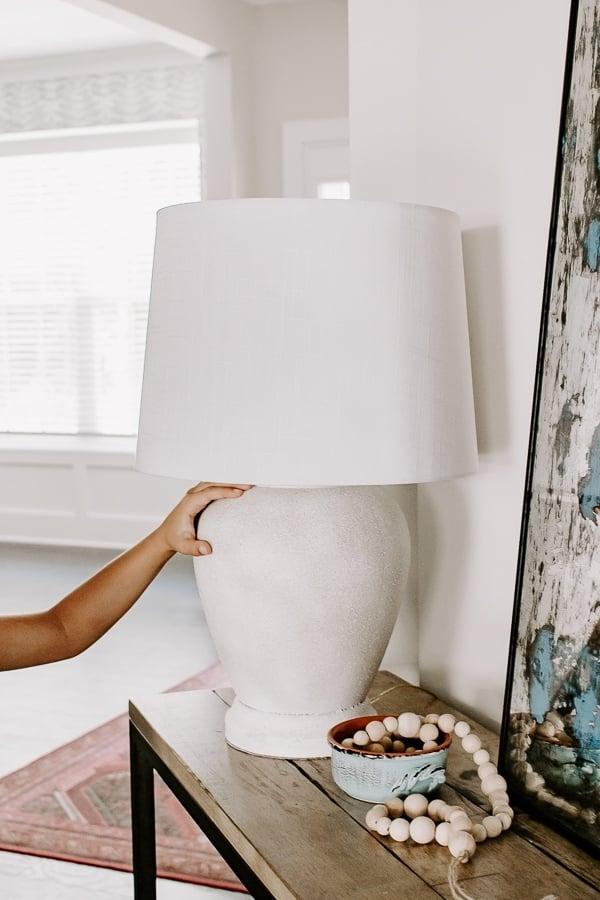 White textured lamp base DIY makeover