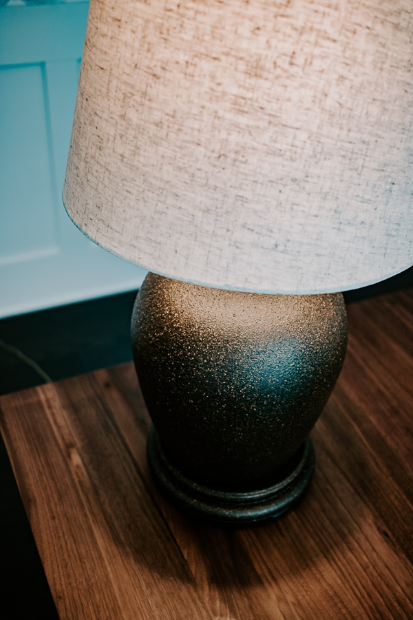 Black and brown textured lamp - thrift store makeover
