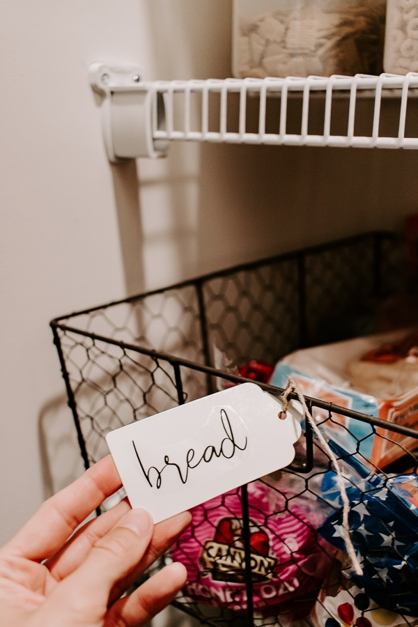 labeled tag saying bread in a walk in pantry