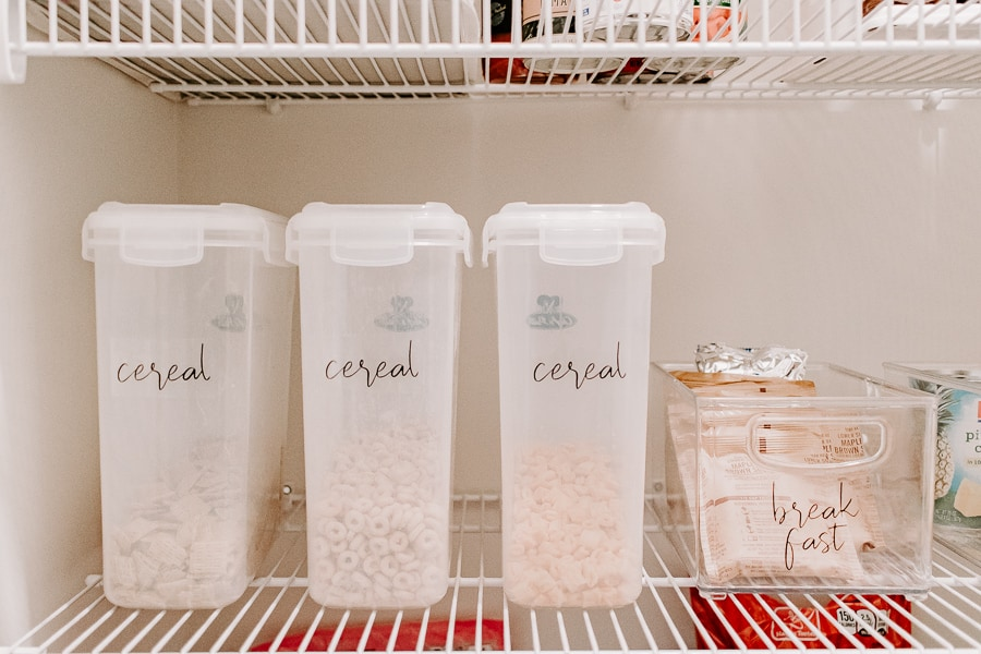 cereal bins labeled in a pantry