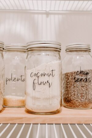 mason jars with dry goods in them