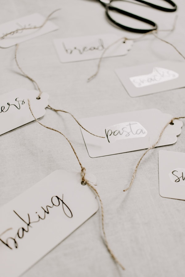 pantry labels with jute twine