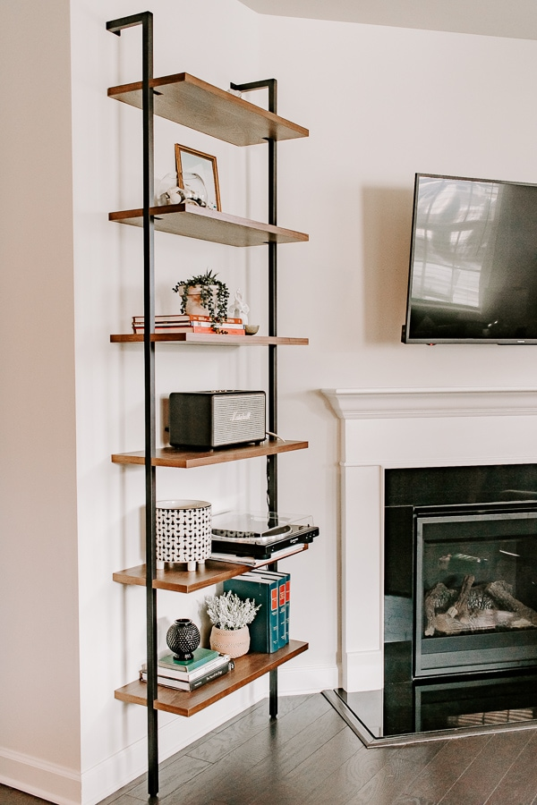 side view of an etagere bookcase