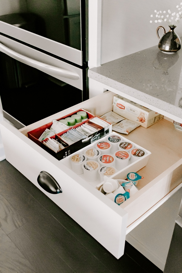open drawer with keurig coffee pods organized