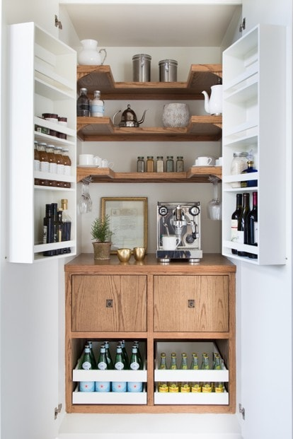 a completely hidden coffee station and beverage station