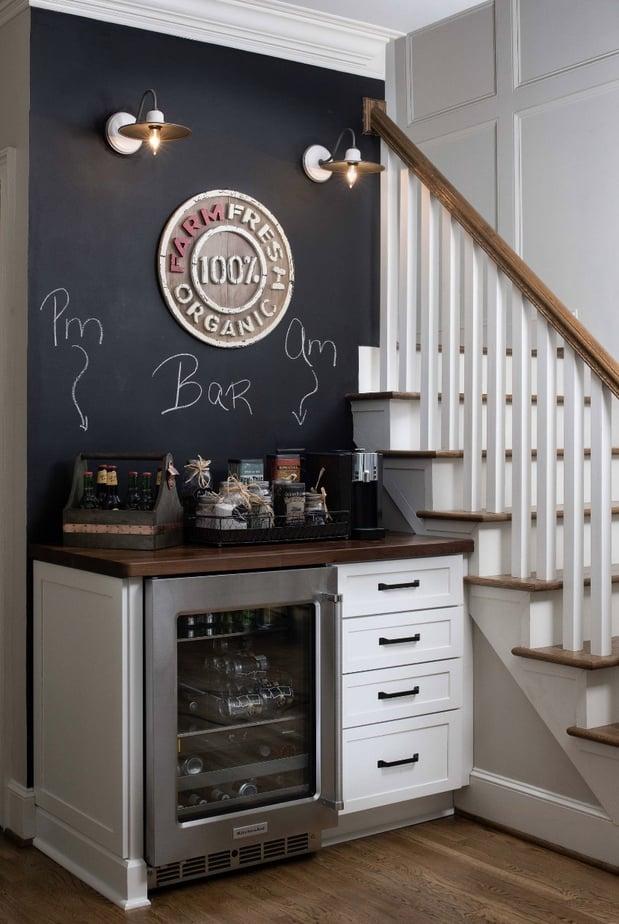 a chalkboard wall coffee station
