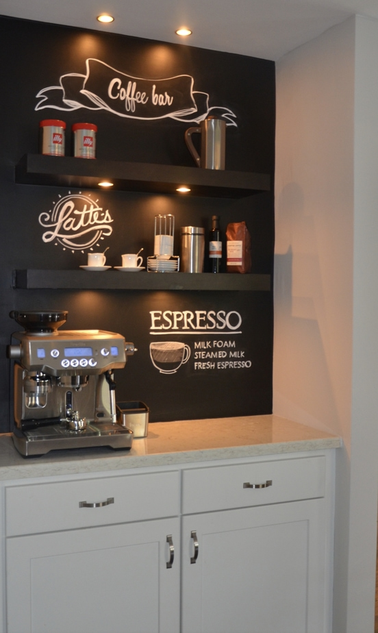 chalkboard wall coffee station