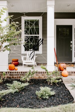 pumpkins and a black faux spider on a spider web on the front porch