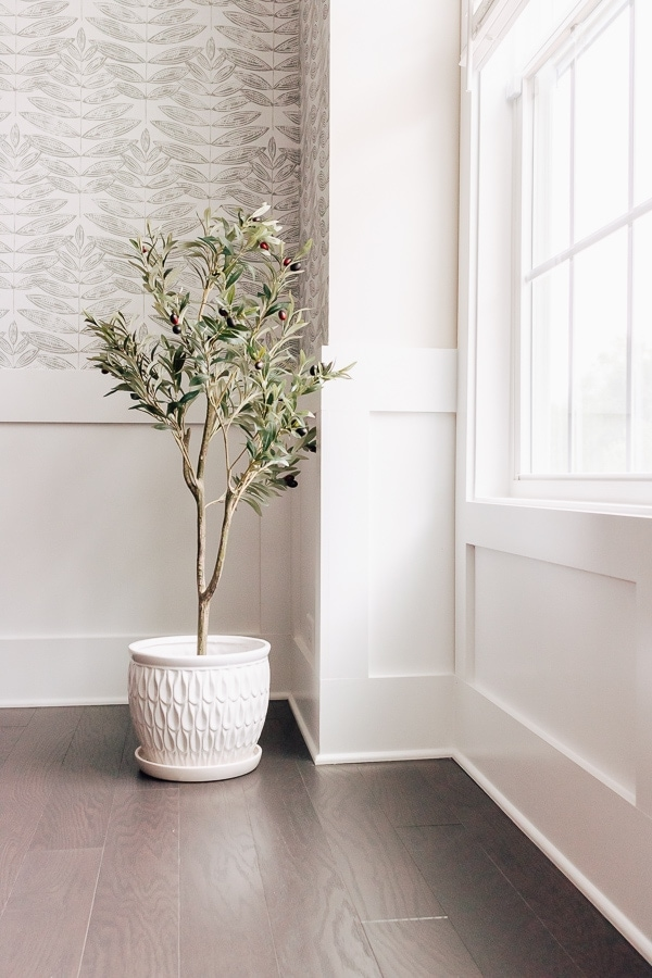 faux olive tree in a white pot near a window