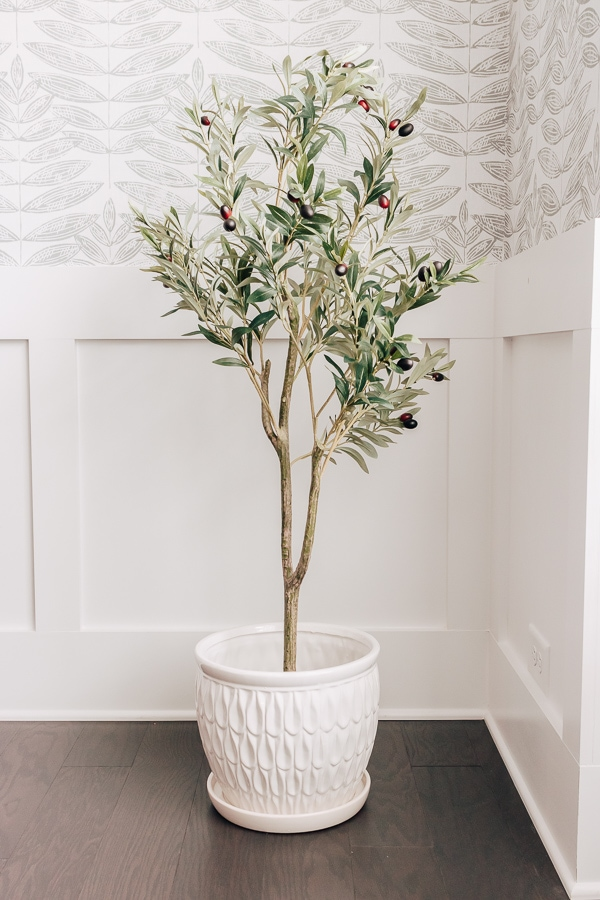 faux olive tree in a white pot in the corner of a room near a window