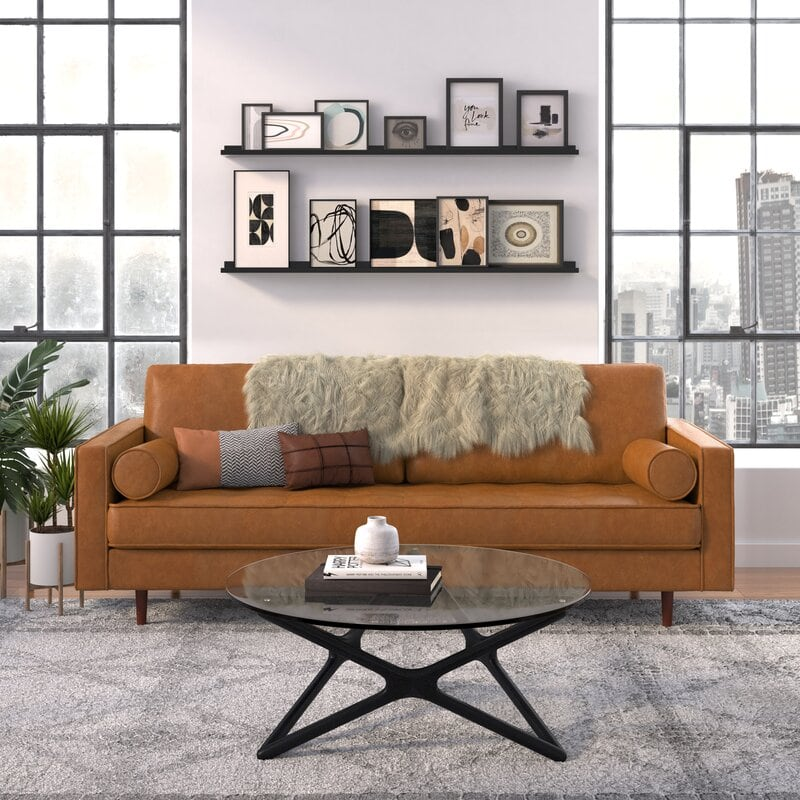 affordable leather sofa - showing the ainslee leather sofa
