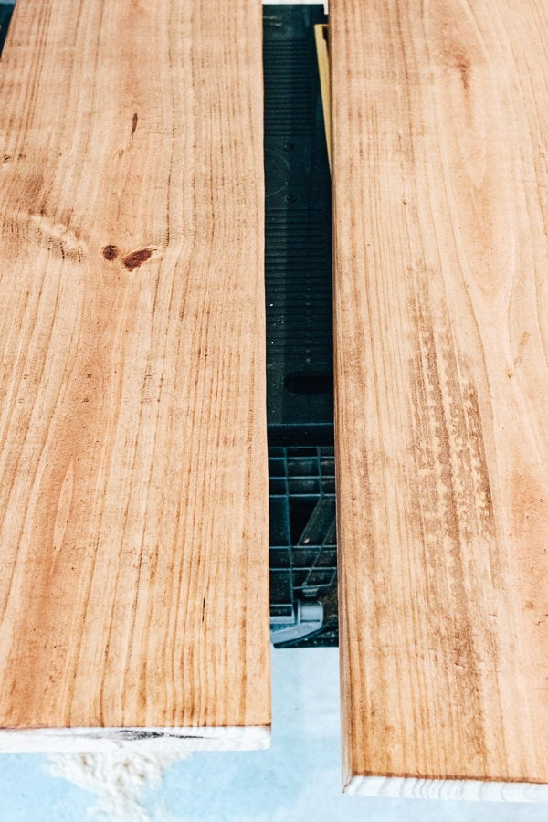 staining pine wood boards