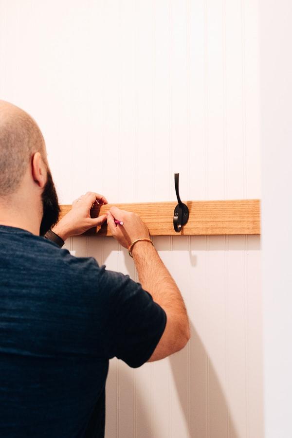 measuring holes for coat hooks
