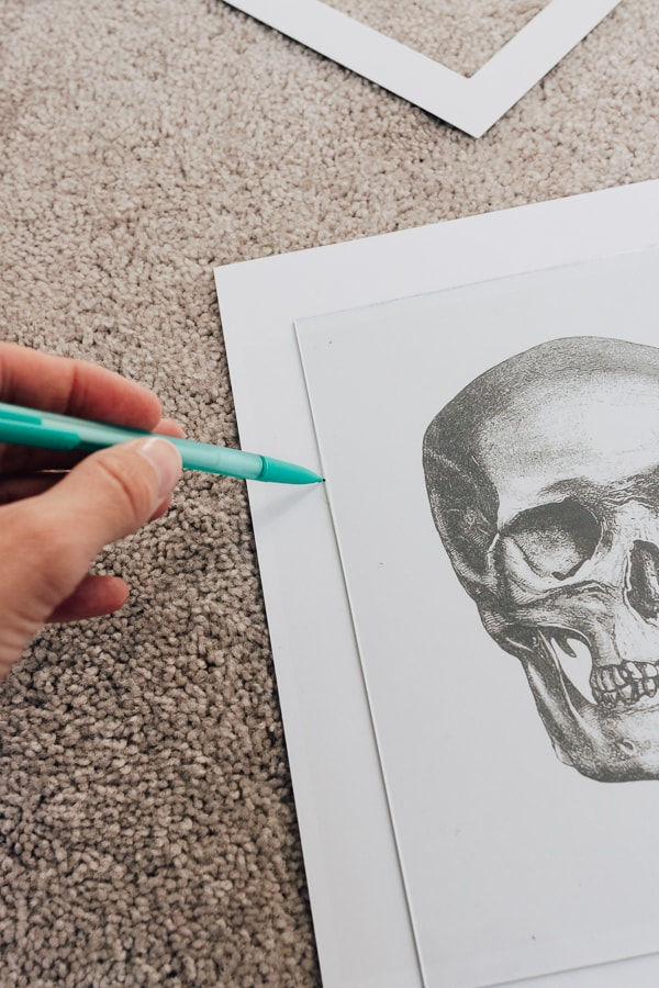 cutting out skull artwork