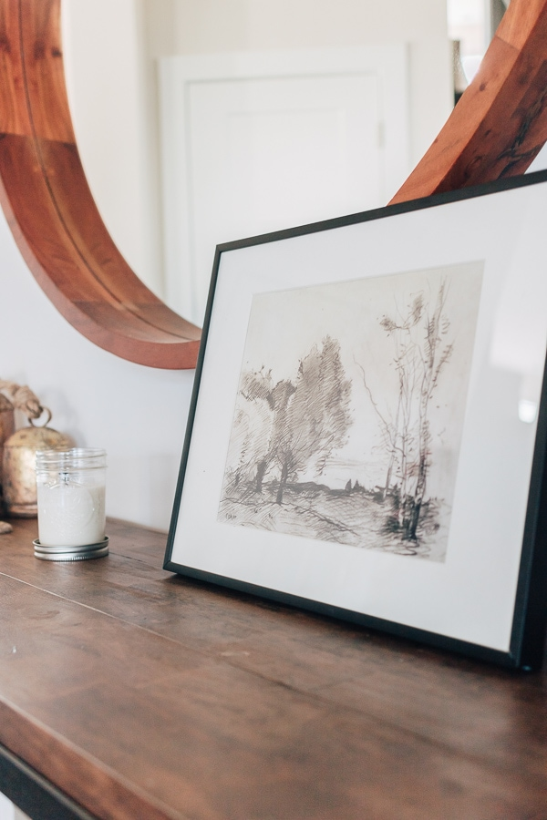 black and white sketch photo on a wood tables