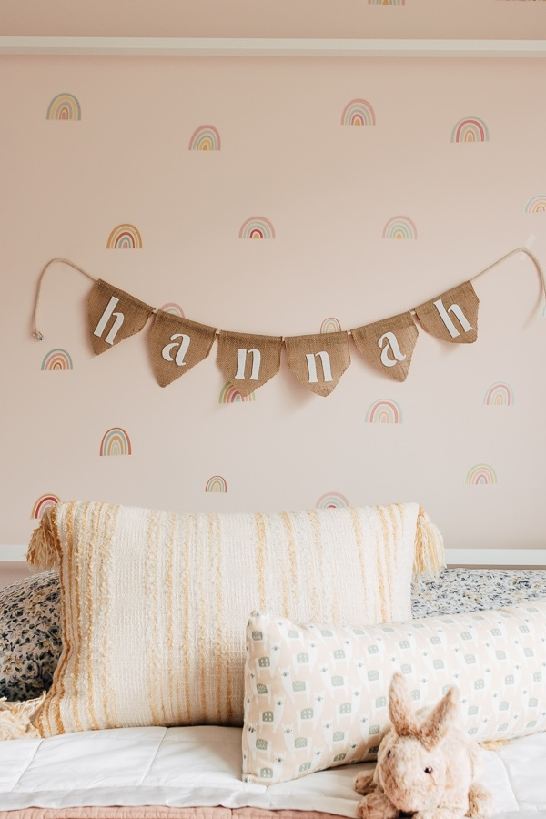 DIY burlap banner hanging in a kids rooms