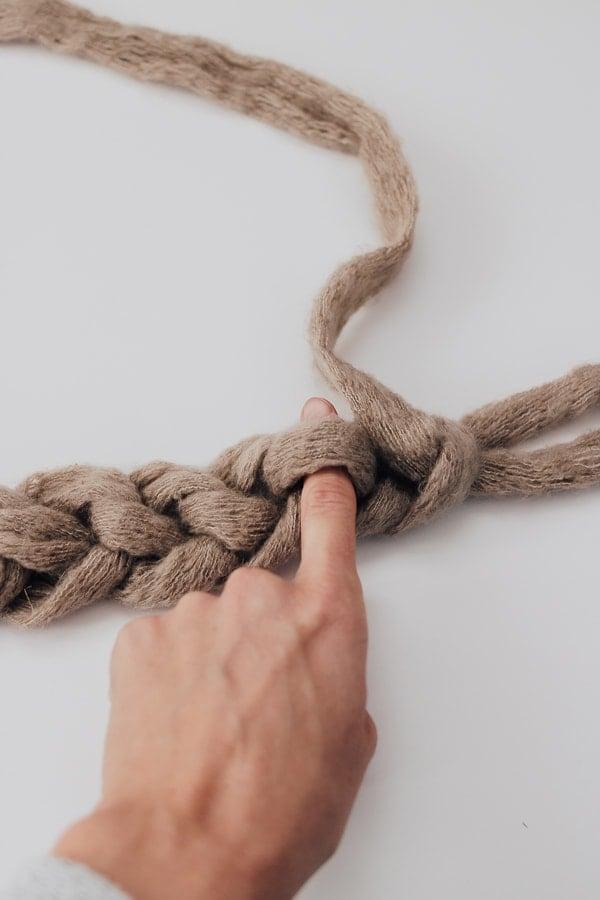 pull yarn through loops