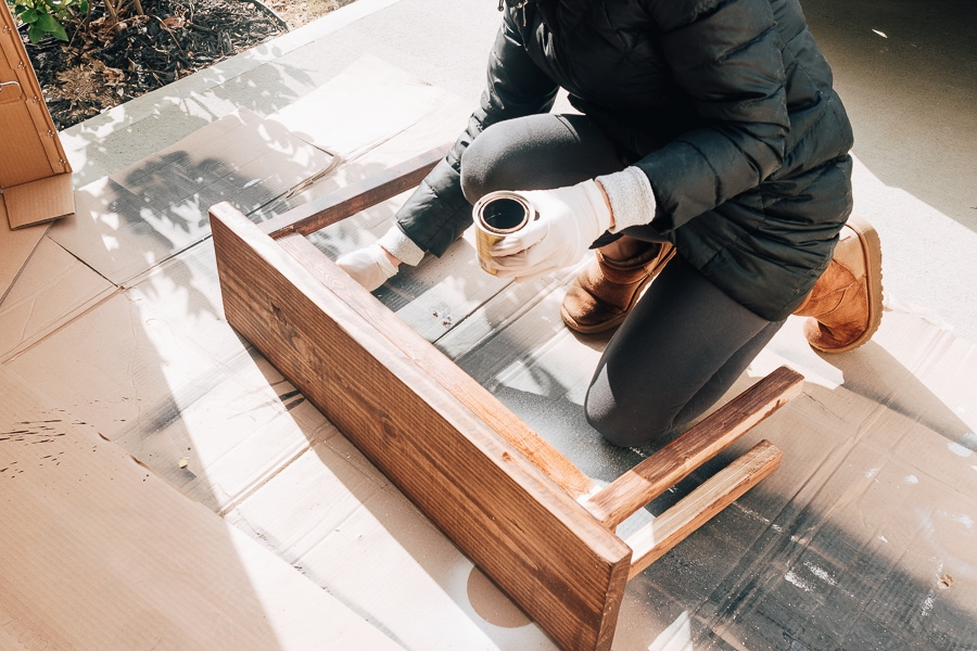Staining a wood bench with special walnut stain
