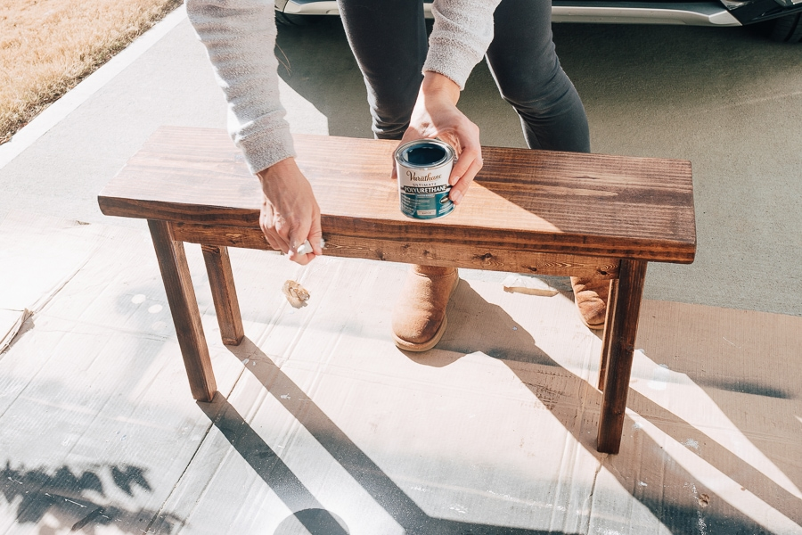 applying polyurethane to stained bench seat