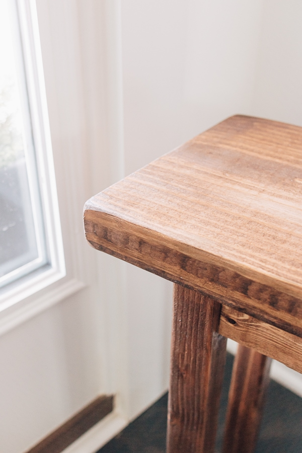 close up of a wood bench
