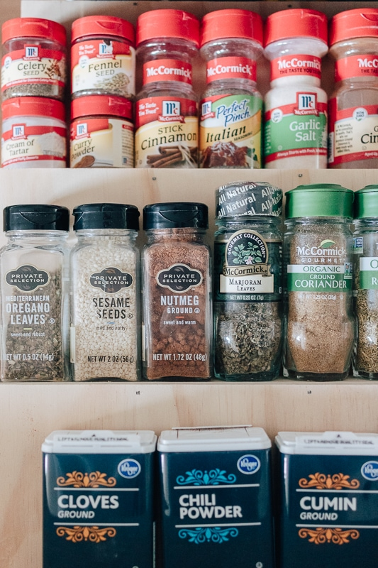 spices in a drawer - organizing your spice drawer