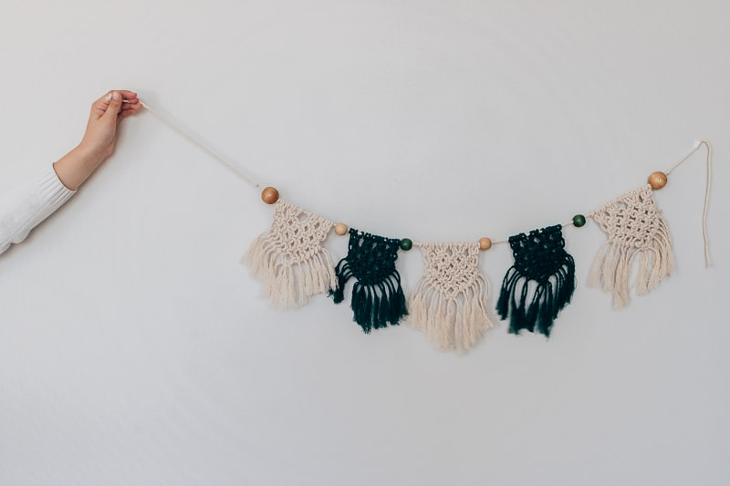 green and white diy macrame banner