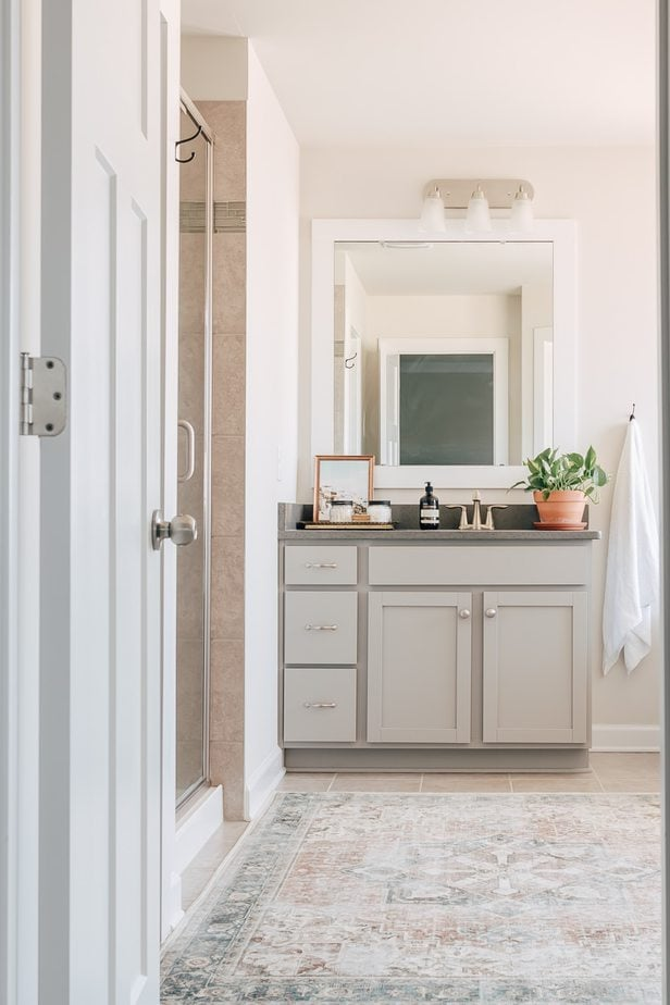 a gray bathroom cabinet with a white framed mirror, a plant and a blue and coral colored rug