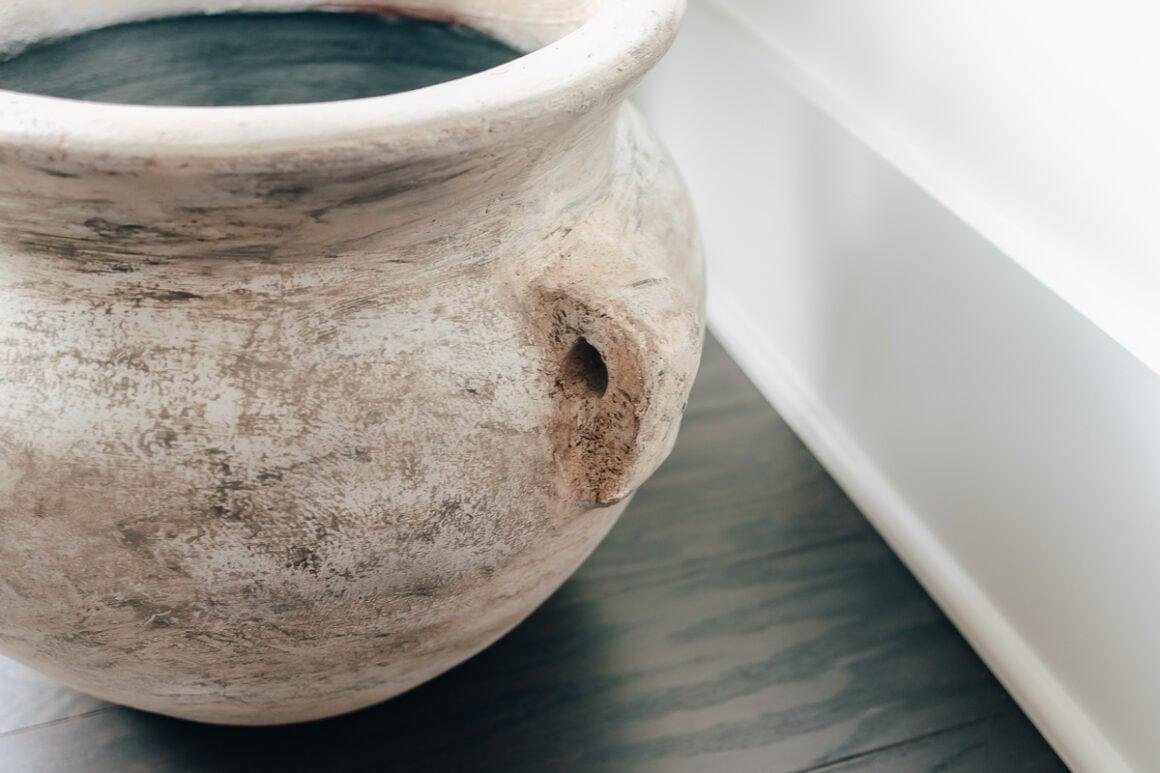 close up of an aged pot