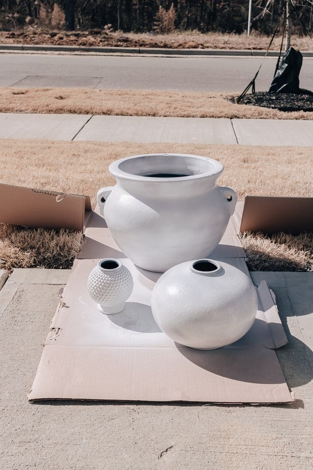 pots spray painted white