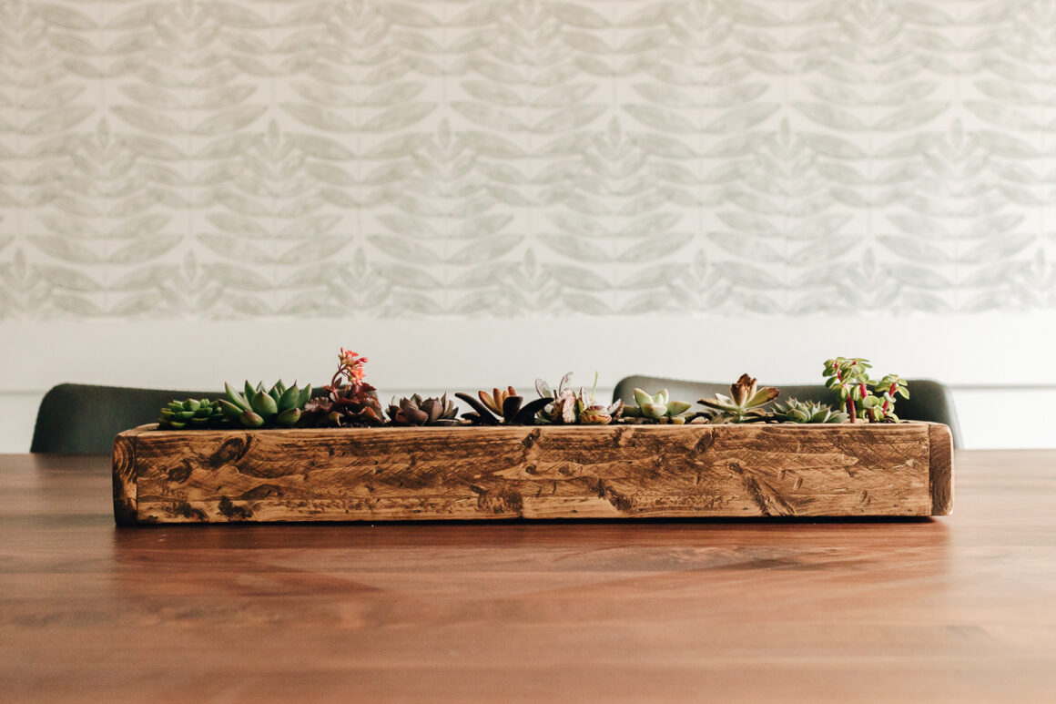 succulent planter diy - a wood planter box on a dining room table filled with succulents