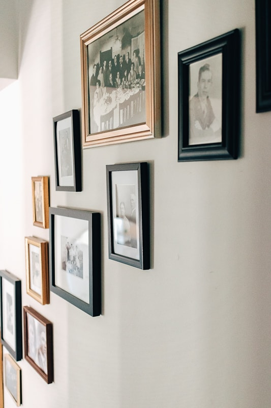 a gallery wall on a stairwell