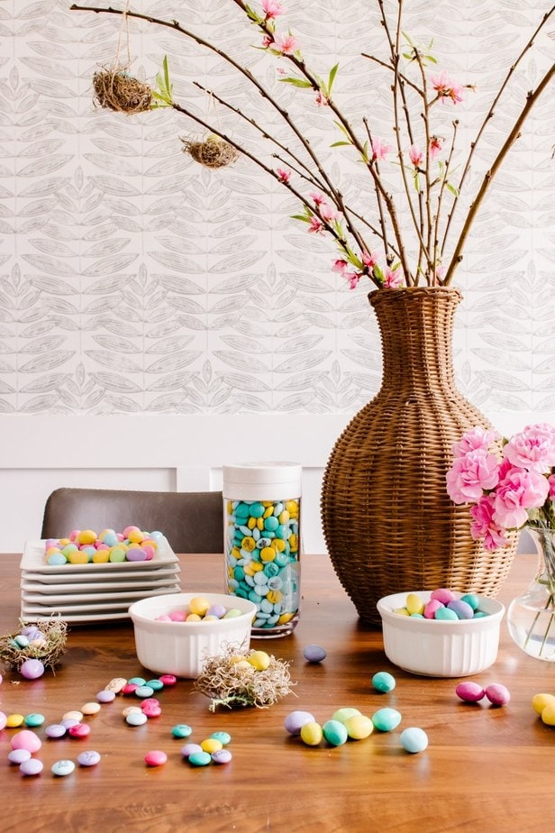DIY Easter Tree with little handmade bird nests - with M&M candies as the eggs.