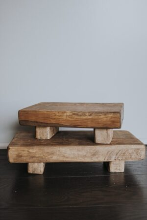 Up close view of DIY wood pedestals stacked- full tutorial in post!