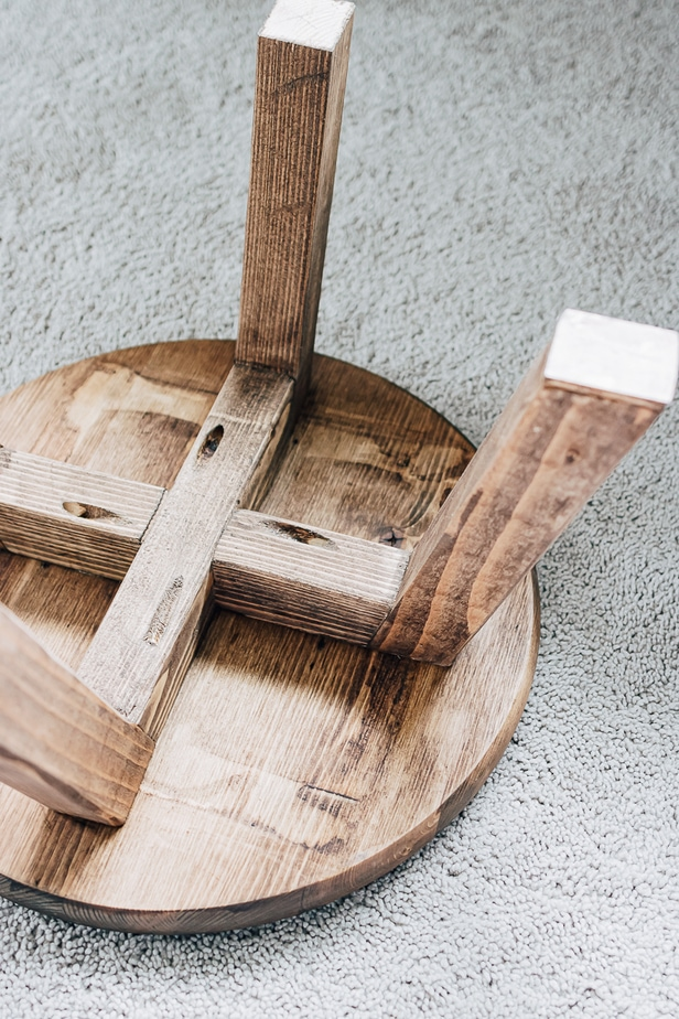 DIY Small Wood Stool - full tutorial in post for how to make a kids stool/step stool from cheap Pine Wood