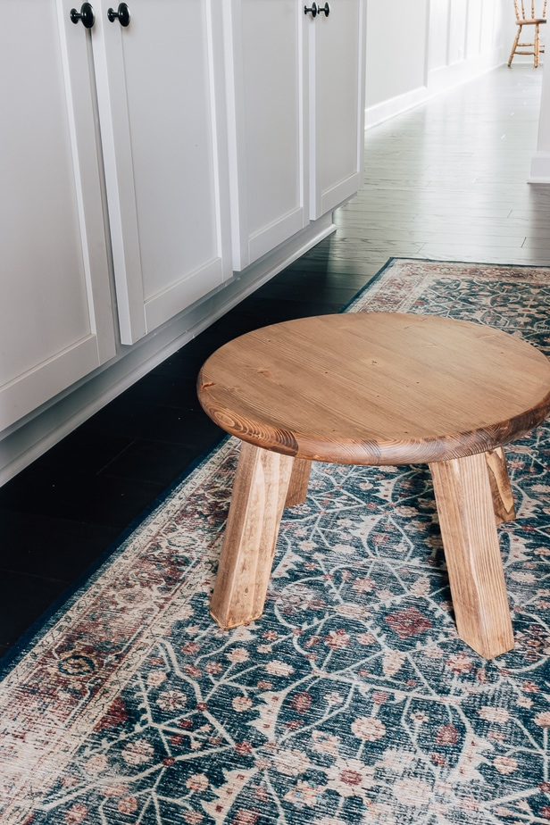 DIY Small Wood Stool in a Kitchen - full tutorial for how to make these cheap wood stools in post.