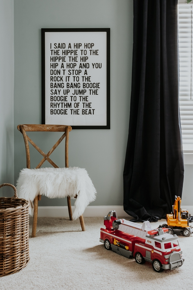 Kids Playroom Makeover Reveal - One Room Challenge. See the before and after of this playroom and how we transformed it into a soothing and colorful kids playroom on a budget.