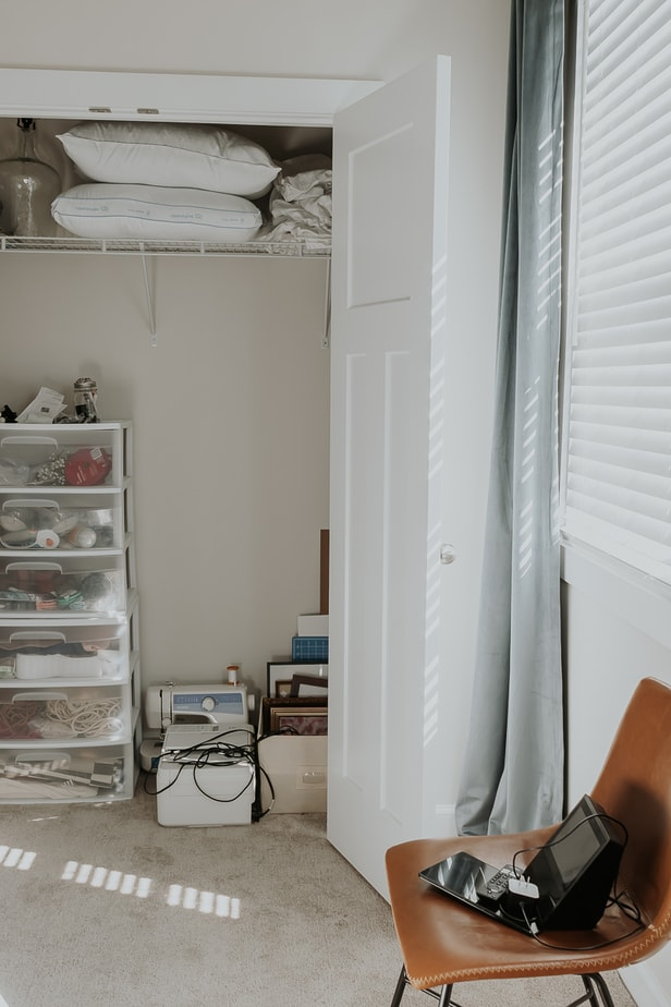 THE BEFORE: DIY Closet with Shelf - How to Create an Office Closet