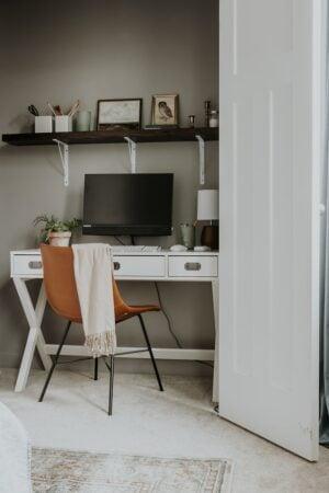 DIY Closet with Shelf - How to Create an Office Closet