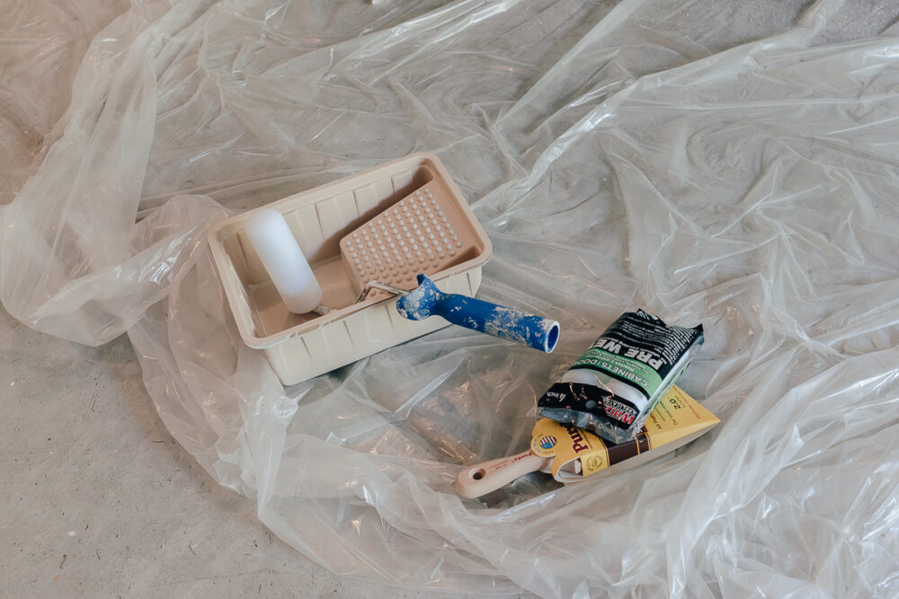 use a foam roller brush to paint furniture