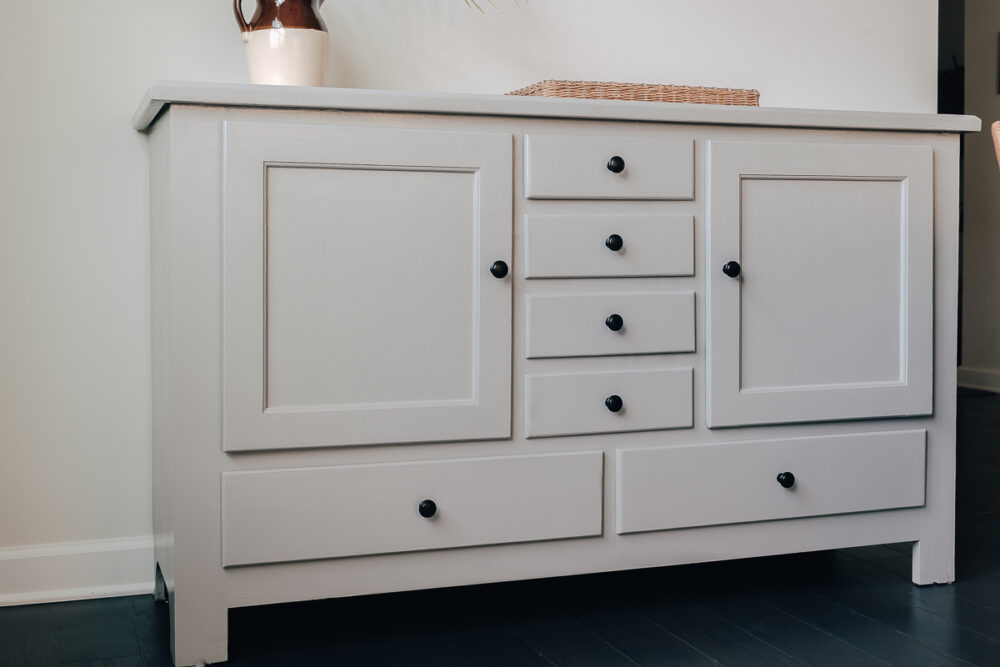 Gray Sideboard in Kitchen - how to paint furniture from start to finish - see how I turned this ugly wood sideboard into a beautiful piece of furniture!